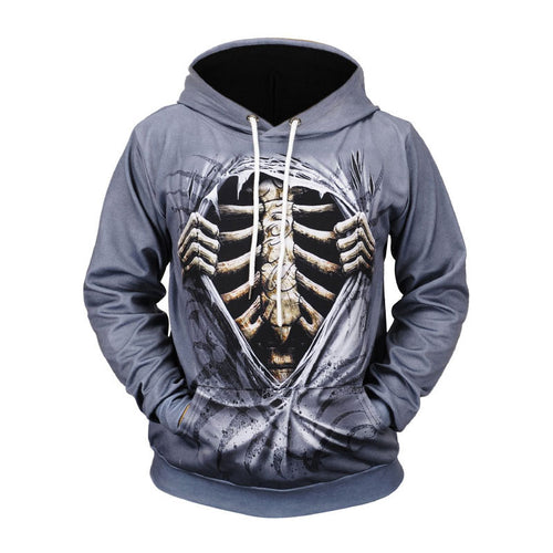 Lace Up Loose Skeleton Printed Pullover Men's Hoodies