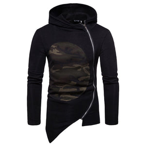 Camouflage Asymmetric Zippered Patchwork Men's Hoodies