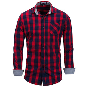 Plus Size Lattice Pattern Cotton Men's Shirts