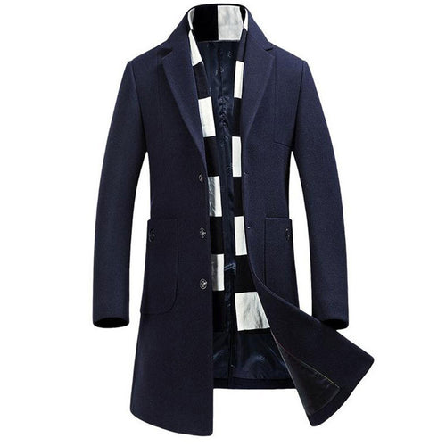 Wool Blends Long Sleeve Lapel Men's Trench Coat