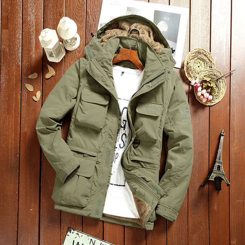 Plus Size Detachable Pocket Solid Color Casual Men's Puffer Jacket