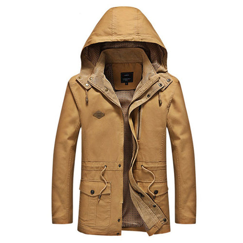 Hooded Zip-up Long Sleeve Pure Color Men's Coat