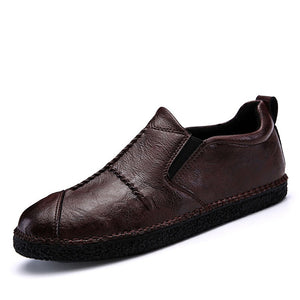 Round Toe Slip On Leather Men's Casual Shoes