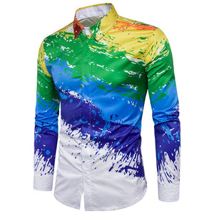 Paint Pattern 3D Printing Lapel Shirt