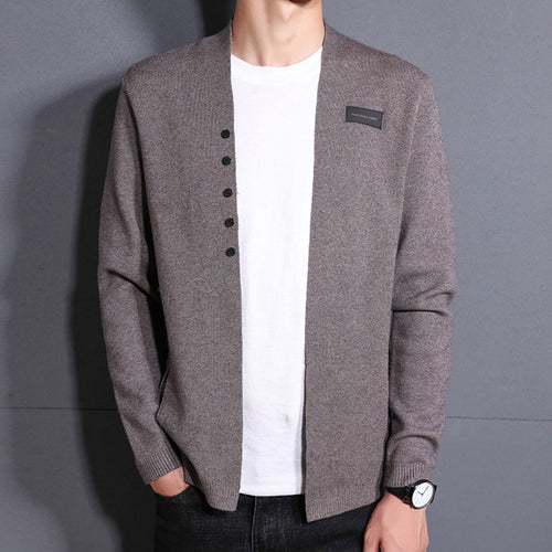 Jacquard Polyester Casual Pure Color Button Men's Sweater