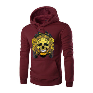 Casual Skull Printing Long Sleeve Pullover Men's Hoodies