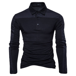 Plain Patchwork Stand Collar Casual England Men's Shirt