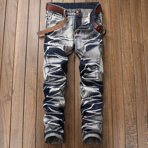 Worn Pocket Straight Pants Pleated Vintage Men's Jeans