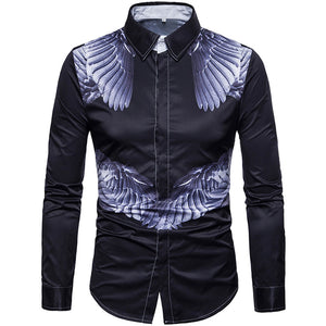 Plus Size Geometric Long Sleeve Men's Shirts