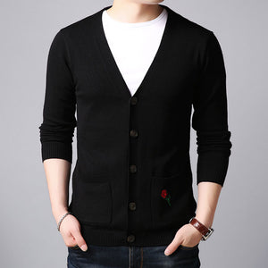 Embroidery Single-Breasted Pocket Pure Color Men's Sweater