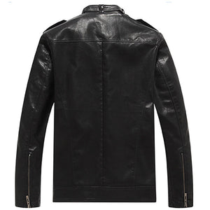 Locomotive PU Vertical Collar Cap Men's Pleather Coat