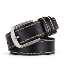 Buckle Color Block Genuine Leather Men's Belts