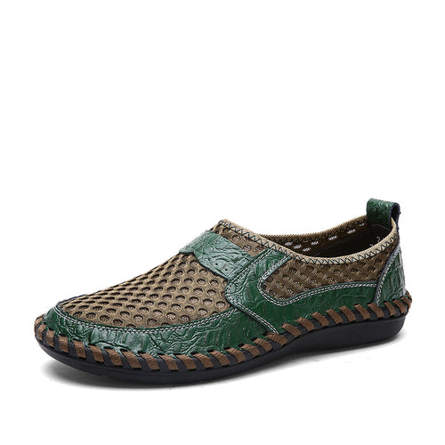 Cowskin Crocodile Pattern On Net Surface Men's Sandals
