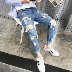 Youth Casual Broken Hole Slim Jeans