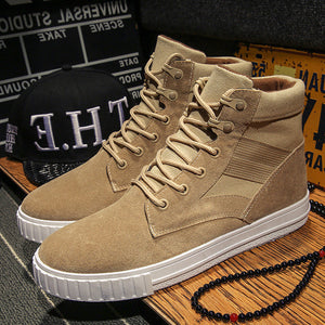 Patchwork Lace Up Plain Men's Boots