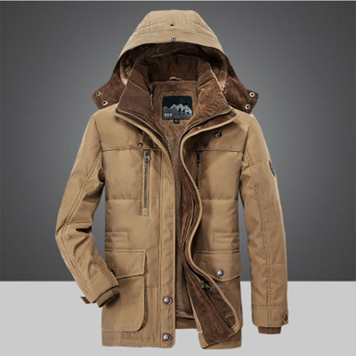 Warm Fleece Hooded Outdoor Men's Down Coat