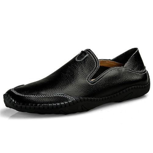 Machine Sewing Thread Cow Leather Slip-On Point Toe Men's Casual Shoes