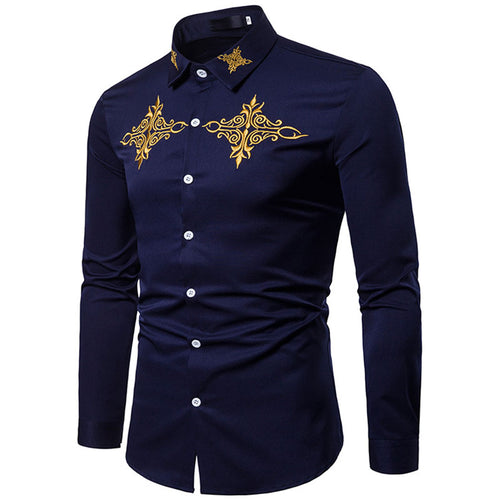 Long Sleeve Single-Breasted Turn-down Collar Men's Shirt