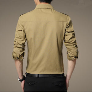 Army Style Long Sleeve Slim Cotton Men's Shirt