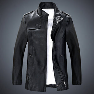 Solid Color Loose Smooth Men's Leather Coat