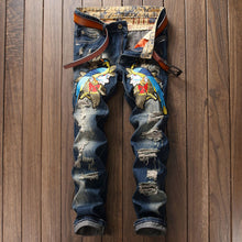 Embroidery Hole Zippered Cotton Casual Men's Jeans