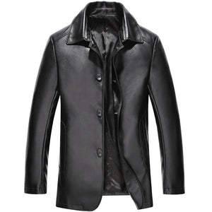 Windproof Turn-down Collar Men's Leather Coat