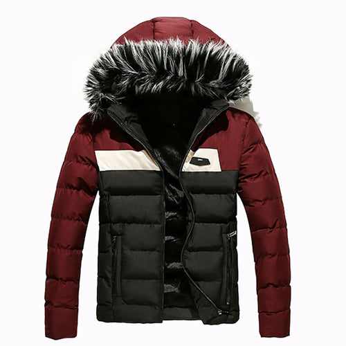 Fur Collar Thickened Warm Contrast Color Men's Down Coat