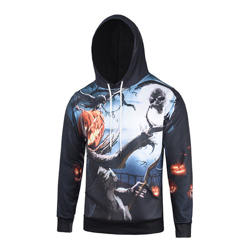 Pumpkin Skull Long Sleeve Printed Pocket Men's Hoodies