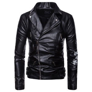 Zippered Letter Turn-down Collar PU Men's Leather Coat