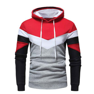 Hooded Long Sleeve Color Block Cotton Men's Hoodies
