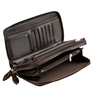 Business  Long Section  Double Zippered Men's Wallets