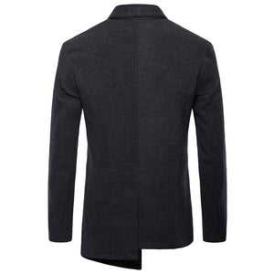 Asymmetric Stand Collar Wool Blends Men's Trench Coat