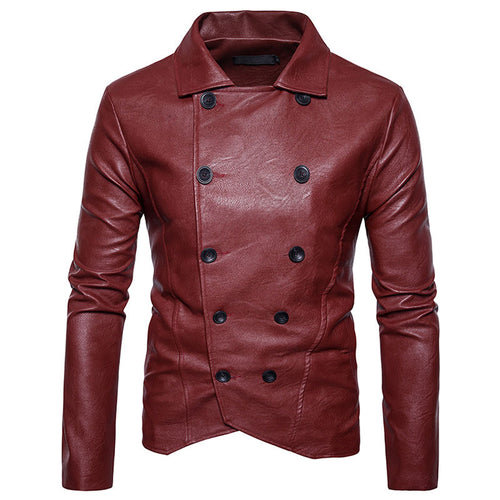 PU Lapel Double-Breasted Casual Plain Men's Leather Coat