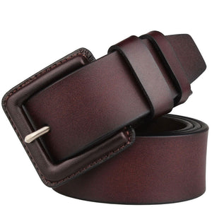 Buckle Solid Color Genuine Leather Men's Belts