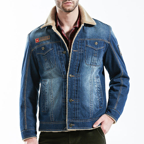 Fleece Jeans With Short Collars Men's jacket