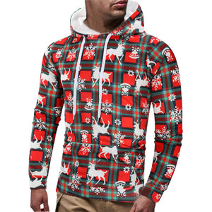 Warm Plaid Pullover Christmas Men's Hoodie