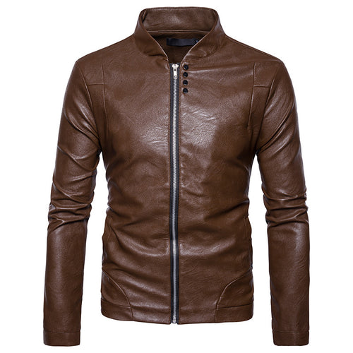 Button Decoration Locomotive Leisure Men's Leather Coat