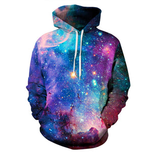 Blue Starry Sky Printed Hoodies