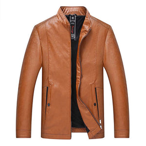 Casual Stand Collar PU Men's Leather Coat