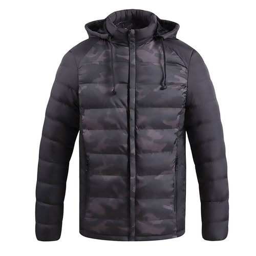 Hooded Long Sleeve Pure Color Zip-up Men's Coat
