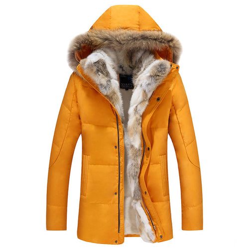 Fur Collar With Velvet Plus Size Pure Color Men's Parka Jacket