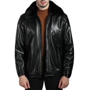 Pure Color With Velvet Warm Men's Leather Coat