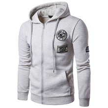 Badge Zippered Hooded Cotton Blends Men's Hoodies