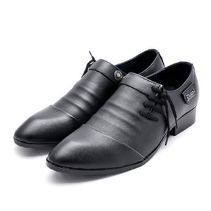 Point Toe Patchwork Leather Men's Formal Shoes