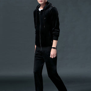 Brief Regular Pleuche Casual Men's Sports Suit