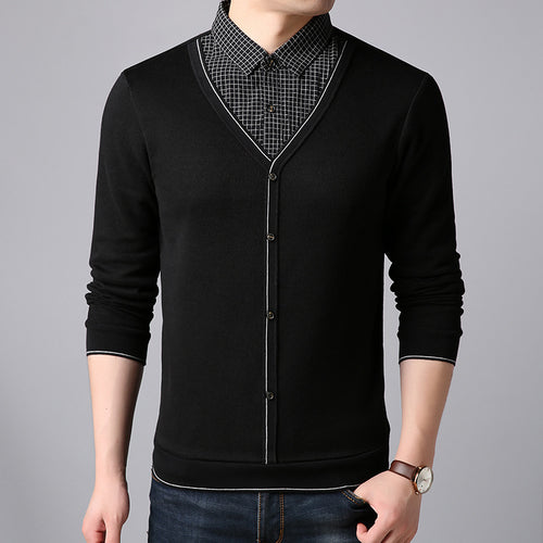 Solid Color Regular Fake Two Pieces Men's Sweater