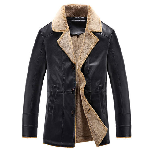 Lapel PU With Velvet Solid Color Striped Men's Leather Coat