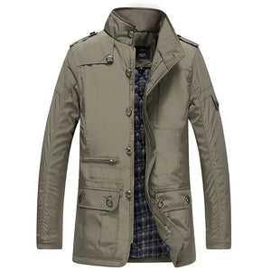 Plus Size Casual Zip-up Epaulet Pocket Men's Down Coat