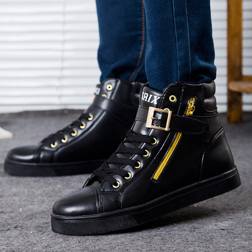 White British Skateboard Buckle Zipper Men's Boots