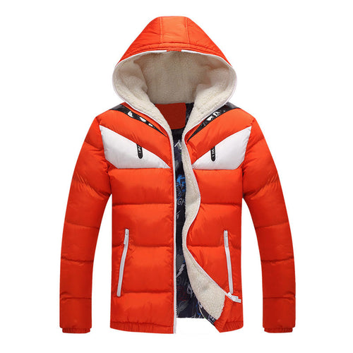 Zipper Printing Hooded Cartoon Cotton Men's Down Coat